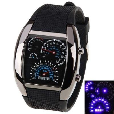 Qoo10スピード メーター風 デジタル 腕時計 LED ブラック Mens RPM Turbo Meter Digitial LED Sports Wrist Watch