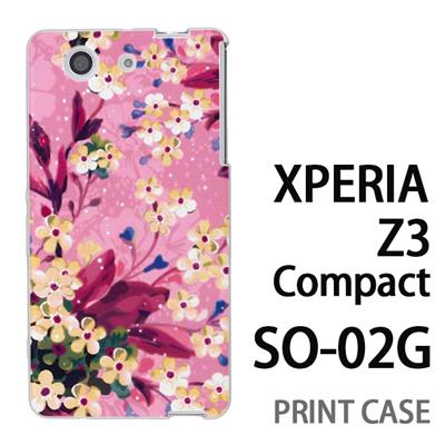 XPERIA Z3 Compact SO-02G 用『0310 水中の花 ピンク』特殊印刷ケース【 xperia z3 compact so-02g so02g SO02G xperiaz3 エクスペリア エクスペリアz3 コンパクト docomo ケース プリント カバー スマホケース スマホカバー】の画像