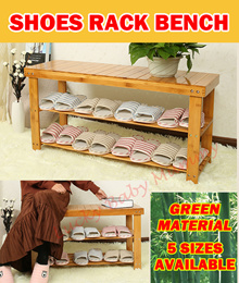 【Bamboo Shoe Rack Bench】Convenient Seat Wearing Taking off Shoes Strong Durable Organizer