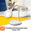 [MUNION] Portable LED ring Desk study Lamp with flexible stand | Touch on/off and dimmer |
