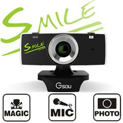 ★【送料無料】≪SMILE≫リピーター続出!最大500万画素の高画質WEBカメラ GSOU B18S (ウェブカメラ PCカメラ USBカメラ) USB接続 マイク内蔵 skype(スカイプ) やmsnメッセンジャー、テレビ電話にも対応 !の画像