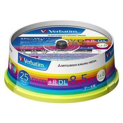三菱化学メディアVerbatim製データ用DVDRDL片面2層8.5GB2.4-8倍速ワイド印刷エリアスピンドルケース入り25枚DTR85HP25V1