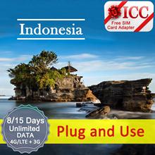 ◆ ICC◆【Indonesia SIM Card·3/6/8 Days 】·NEW·❤4GLTE + Unlimited data❤Telkomsel/Indosat