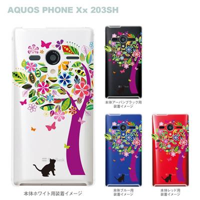 【AQUOS PHONEケース】【203SH】【Soft Bank】【カバー】【スマホケース】【クリアケース】【クリアーアーツ】【花とネコ】 22-203sh-ca0070の画像