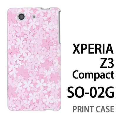 XPERIA Z3 Compact SO-02G 用『0311 桜模様 ピンク』特殊印刷ケース【 xperia z3 compact so-02g so02g SO02G xperiaz3 エクスペリア エクスペリアz3 コンパクト docomo ケース プリント カバー スマホケース スマホカバー】の画像