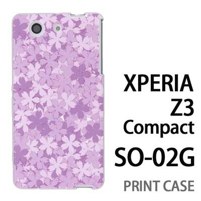 XPERIA Z3 Compact SO-02G 用『0311 桜模様 紫』特殊印刷ケース【 xperia z3 compact so-02g so02g SO02G xperiaz3 エクスペリア エクスペリアz3 コンパクト docomo ケース プリント カバー スマホケース スマホカバー】の画像