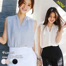 韓国ファッション Vネック/シンプルなノースリーブブラウス/夏 レディース トップス/夏Tシャツ 夏トップス/全4色