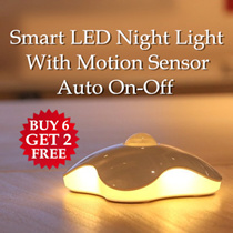 [BUY 6 GET 2 FREE] Authentic Portable Smart Auto On Off Motion Sensor LED Night Light / Clover Lotus Oval Shape / Good for Elderly Baby Kid Night Wake Up / Living Room Car Park