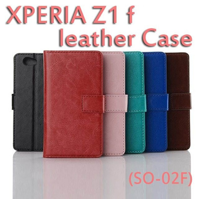 docomo Xperia Z1f SO-02F Xperia A2 SO-04Fレザー調ブックケース合皮タイプ エクスぺリアZ1f スマホケースdocomo Xperia Z1f SO-02F 【Xperia A2/Xperia Z1f 】PUレザーケース手帳型スタンド機能PUレザーケースの画像