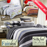 【FAIRDEAL】 Best Selling♥Silkfeel Bedsheet Set FULL RANGE♥350 Thread Count Micro Satin Jacquard♥The Brushed Micro Fibre Fabric♥Fitted Sheet♥Pillow♥Bolster♥