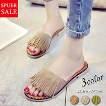 Summer shoes Korea fringe sandals double belt bed sandals beautiful legs beach sandals womens shoes