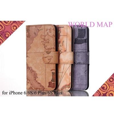 【送料無料】iPhone6/iPhone6Plus/iPhone6S/iPhone6SPlus/アンティーク調ワールドマップケース/WorldMapCase/地図模様/手帳型スマホカバー/動画視聴に便利なスタンド機能/カード収納付き/パスケース