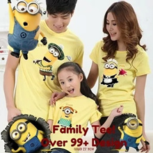 2016 New Arrival/Cartoon Family T-shirts /Despicable Me-the Minions/Superman/Zebra/Giraffe/Navy Style/Bow-tie/Parent-child/Family Wear/Women T-shirts/Men T-shirts/Couple clothes/children clothes