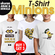 Buy 1 ge1 3/T-shirt Minions | Ukuran Anak dan Dewasa | Bahan Kaos 100% Katun/family tshirt/couple tshirt/Tshirt dewasa/tshirt anak