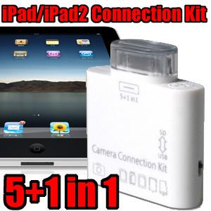 【送料無料】デジカメの写真を手軽にiPad/iPad2/新しいiPadに取り込もう! 5in1+USB コネクションキット(MicroSD/SDHC/メモリーステック/メモリーステックDuo/カードリーダー/USBキーボード/デジタルカメラ) 【Connection Kit(ICH-05WC) 】の画像
