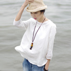 Art small fresh simple wild solid color linen T-shirt