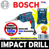 Bosch GSB 10 RE Most Compact and Powerful Impact Drill in its class. Low weight of 1.5 KG for fatigue free working. Equipped with forward/reverse rotation.Comes with 100 piece hand tool set