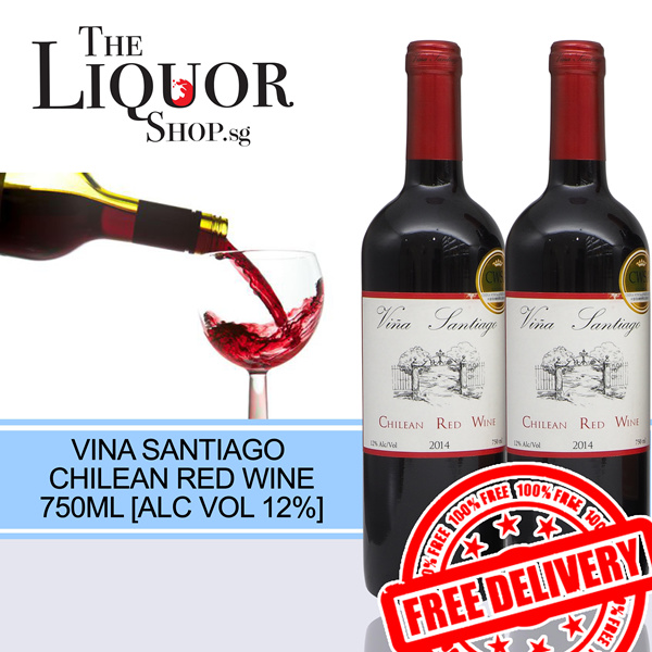 [FREE DELIVERY WINE COLLECTION] 2 BOTTLES VINA SANTIAGO CHILEAN RED WINE 750ML Deals for only S$56 instead of S$0
