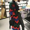 ♥2016 ニューデザイン♥カラーパターンがおしゃれ~♪ボリューム袖が可愛いポイント!パターンロングカーディガン