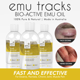 ECZEMA/PSORIASIS/HIVES/DRY ITCHY SKIN NON-STEROIDAL RELIEF. Emu Tracks Bio-Active Emu Oil 50ml/100ml.