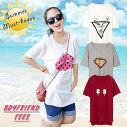BF style T-shirt with slit  Cotton loose fit summer must have
