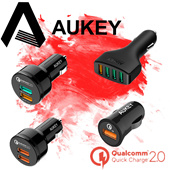 ★TOP SELLER★ AUKEY For Qualcomm Quick Charger 3.0/2.0/Type-c/ 2.4A Multi Ports Mini USB Car Charger Car Holder for iPhone 6s iPad Samsung HTC Xiaomi QC2.0 Compatible