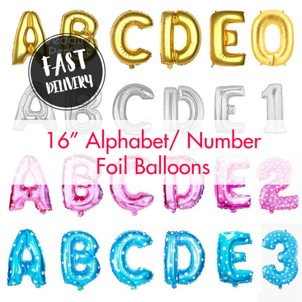 16 Inch Alphabet Balloon/Letter Number Alphabet Balloons / Foil Balloon/ Birthday Wedding Party Deco Deals for only S$1.99 instead of S$0