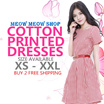 [PRINTED COTTON DRESS]  XS-XXL/PLUS SIZES/ PREMIUM / COTTON PRINTED/ PLUS SIZE/ OFFICE/ DINNER/ WORK
