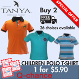 [Children Polo T-Shirt] BUY 2 FREE SHIPPING! For Kids age 2 to 12 years old. 100% Cotton with embroidery / 200GSM/Soft and Durable