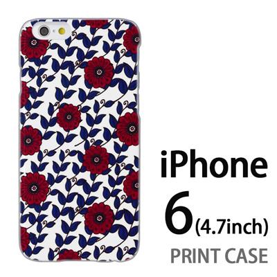 iPhone6 (4.7インチ) 用『0316 蔓フラワー 赤×青』特殊印刷ケース【 iphone6 iphone アイフォン アイフォン6 au docomo softbank Apple ケース プリント カバー スマホケース スマホカバー 】の画像