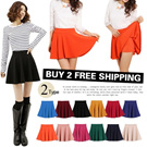 [BUY 2 FREE SHIPPING]2015 New Arrival! Lady Fashion Flare Mini Skirts/  Skirt with Shorts/Lovely Skater Skirts/Candy Color Pleated Skirts/Sun Skirts/2 Types/12 Color/SPECIAL SALE!