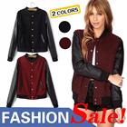 XM08 New winter / Europe wind stitching leather sleeves baseball uniform / wool jacket / coat