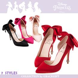 ♥New Arrival♥Gracegift-Disney Princess Snow White Bow Pointy Toe High Heels/Women Shoes