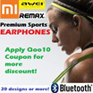 XIAOMI REMAX AWEI IPIPOO Wireless Bluetooth earphones Sports Premium Quality 6 mths warranty