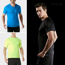 ★TESLA HYPER DRI FIT★ Sports wear/T shirts/ Short sleeve/Polo/ Quick dry Gym training Surf (UPF 50+)