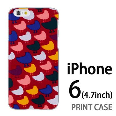 iPhone6 (4.7インチ) 用『0317 モザイク鳥ドット 赤』特殊印刷ケース【 iphone6 iphone アイフォン アイフォン6 au docomo softbank Apple ケース プリント カバー スマホケース スマホカバー 】の画像