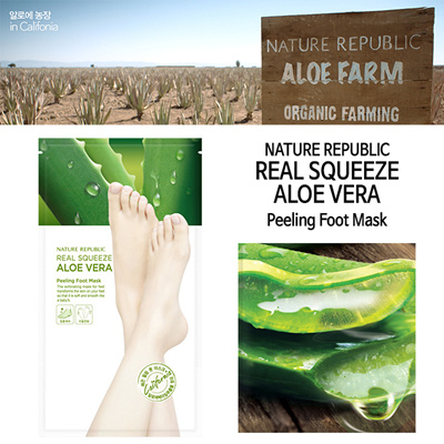 Mặt Nạ Chân Nature Republic Real Squeeze Aloe Vera Peeling Foot Mask 2