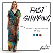 JESSCLOSET - Plus Size Deep V Collar Bat Sleeve Bohemian Style Long Dress #915 - New Arrival