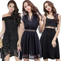 【26/5 new】Black Dresses/Korean style Slim dress/Sexy/Strapless/Halter/Little black dress/Harness dre