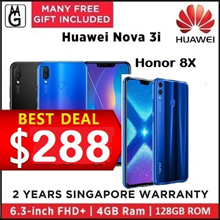Huawei nova 3i  4/128GB 2 Years Warranty| honor 8X 4/128GB  1 Years Warranty.