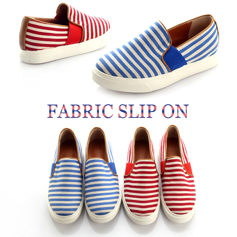 qoo10 striped fabric slip on shoes sneakers jc0152