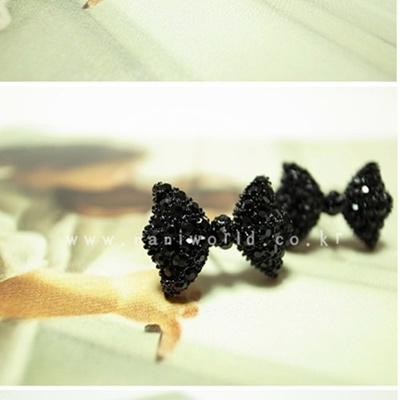 【ZAKZAK・国内発送】新品送料無料ァッションブラックリボン蝶結び韓国可愛い女性ピアスアクセサリーの画像