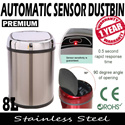 SALE! Premium Stainless Steel Automatic Sensor Dustbin 8L [Hygienic Modern Convenient] [SG Seller] [Local stocks] [Silver Black and Red]