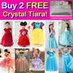 New 7 Dec! Buy 2 Free Crystal Tiara! CNY Dress! Party Princess Costume Dresses!  Baby Toddler Girl Party Dress / Wedding Birthday / Kid Children!