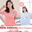 New  Style   Cute Cartoon Sleepwear Women Silk Pajamas Dress Short Sleeve Nightdress