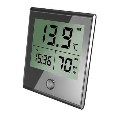 オーム電機時計付温湿度計ブラックTEM-210-K-K