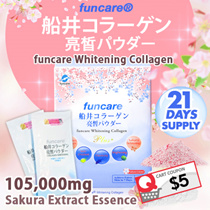 (1+1 = 42 SACHETS!) 5000MG + Glutahione + Sakura extract - FUNCARE Whitening Collagen Powder Instant UV Protection Fair Like Snow White