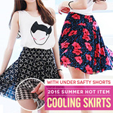 [Only Today $9.90!/Free Gift] ★GSS Flat Special Deal/2015 HOT SUMMER ITEM- Directly From Korea★ COOLING Skirt with Under safty shorts/KOREA STYLE/FLARED SKIRTS