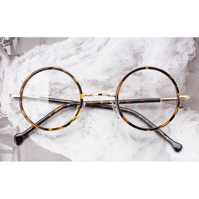 [新商品]Classic Round スタイルの眼鏡/E233 tiger skin サングラス/Sunglass/韓国の芸能人の協賛メガネの画像