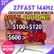 CrossOver 27 FAST 144 Hz 27 inches Monitor / Non Perfect Pixel Version / Wide 16: 9 Ratio / 2560 X 1440